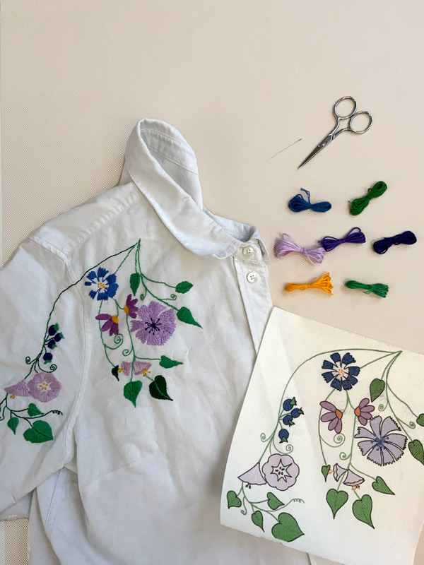Blue Flowers, embroidery kit for beginners
